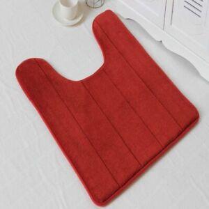 U-shaped Memory Foam Bath Mats Toilet Mat Bathroom Coral Fleece Carpet Rug Gift