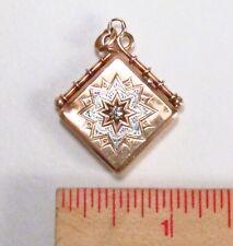 Antique Victorian Era 14K Rose Gold Diamond Ornate Pendant Locket Watch Fob