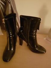 ladies patent ankle boots