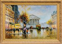 French Framed Oil Painting, Signed by Сristof Vevers, Paris Evening Cityscape