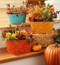 3 Fall Metal Flower Pots Holiday Country Farm Decor Embossed Leaves Decoration