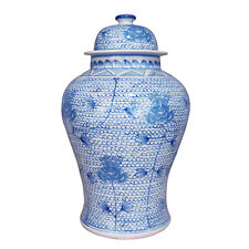 Blue and White Chain Handmade Porcelain Temple Jar - Large