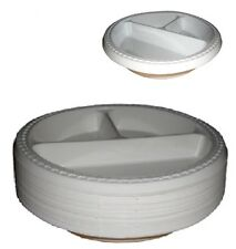 "50 3 Section Compartment 10"" Plastic White Plates Party"