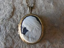 VIRGIN MARY AND BABY JESUS CAMEO LOCKET - RELIGIOUS - ANTIQUED BRONZE!! QUALITY