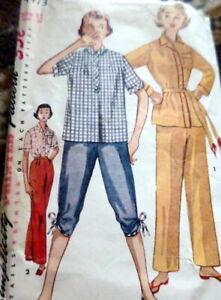 *LOVELY VTG 1950s PAJAMAS Sewing Pattern 12/30