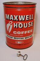 Large Vtg 1950s Maxwell House KEYWIND COFFEE TIN 2 POUND White Plains New York