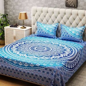 Queen Multi Blue Ombre Bedding Cover Bed Set With 2 Pillows Covers Indian Cotton