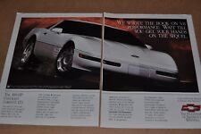1992 CHEVROLET Corvette 2-page advertisement, Chevy CORVETTE