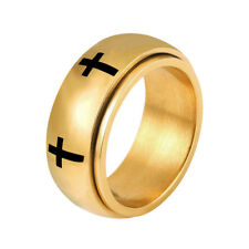 U7 Latin Cross Band Ring Stainless Steel 7MM Rotating Ring Rotatable Size 6-11