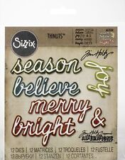 Sizzix Thinlits Dies By Tim Holtz 12/Pkg-Shadow Script Christmas
