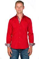 Ugholin Chemise Homme Coton Easy Iron Ajustée Unie Rouge Manches Longues