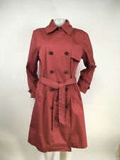 Garnet Hill Rust Cotton Belted Utilty Trench Coat Size Medium