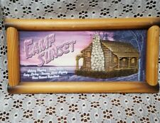 "Wooden Framed Wall Hanging-""Camp Sunset"" 3D Sign-Cabin on a Lake"