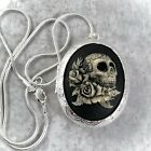 SUGAR SKULL Painted Cameo SILVER plt LOCKET Necklace HALLOWEEN DAY OF THE DEAD
