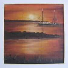 "JOHN THOMAS AUSTRALIAN SMALL OIL ""SAILING BOAT AT SUNSET"" 2000"