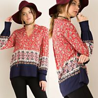 Entro Top Size S M L Anthropologie Boho Red Print Tunic Long Sleeve Womens New