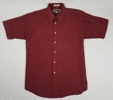 John Weitz Red Dress Shirt - Button Down Short Sleeve Mens 16-1/2 Single Needle