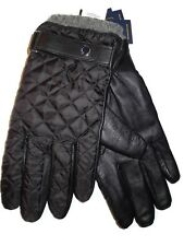 Polo Ralph Lauren men's Black Leather & Quilted Gloves size Large nwt