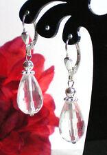 Echte Bergkristall Edelstein Ohrringe Ohrhänger facettierte Tropfen 925 Silber