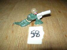 ca 1960'S BARCLAY DIMESTORE LEAD TOY SOLDIER MACHINE GUNNER SITTING #58