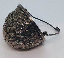 Antique American Sterling Silver Floral Repousse Tea Strainer