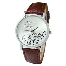 Fashion Women Mens Leather Stainless Steel Letter Sport Quartz Wrist Watch HOT