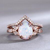 2CT Oval Cut Fire Opal 14k Rose Gold Over Diamond Womens Wedding Bridal Ring Set