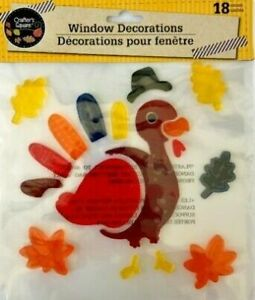 NEW 18 pc Window Gel Clings Decorations Turkey Leaves Thanksgiving Fall Harvest!