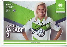 FOOTBALL carte joueuse ZSANETT JAKABFI équipe Vfl WOLFSBURG signée