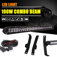 "06-08 Ford F150 2/4WD 20"" 100W Single Row LED Light Bar +Hidden Bumper Brackets"