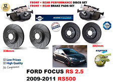 FOR FORD FOCUS RS500 09-11 FRONT REAR PERFORMANCE DRILLED BRAKE DISCS + PAD KIT