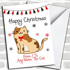 Tortoiseshell From or to The Cat Pet Personalised Christmas Card