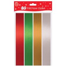 100 Coloured Foil Paper Chains Christmas Decorations Self Adhesive Xmas