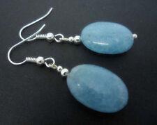 Natural 13x18mm Blue Chalcedony Oval Gemstone Silver Hook Dangle Earrings JE276