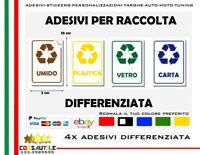 4x adesivi identifica rifiuti raccolta differenziata in pvc mis 5x10 uso esterno