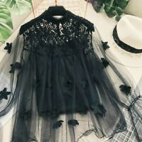 Ladies Lace Mesh Hollow Out Blouse Top Puff Sleeve Florals Retro Fairy Gothic