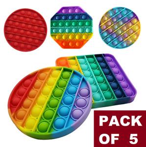 Push Pop Bubble Sensory Fidget Kids Toy It Special Needs Silent Autism [5-Pack]
