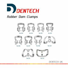SET OF 10 RUBBER DAM CLAMPS DENTAL RESTORATIVE *GERMAN STEEL* *CE* NEW COLLIERS
