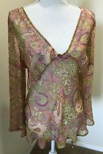 Separates by New York City Design Co Silk Paisley Tunic Blouse Top Kaftan LARGE