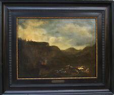Antique Nickolaes Berchem Dutch Oil Painting Landscape 17th century