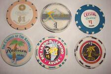 6 DIFFERENT  - Aruba - $1 Casino Chips
