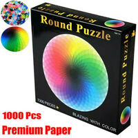 Jigsaw Puzzle 1000 Pieces Colorful Rainbow Round Educational Puzzle Kids Adult
