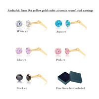 9ct yellow gold 3mm cubic zirconia cz Andralok stud earrings / studs / Giftbox