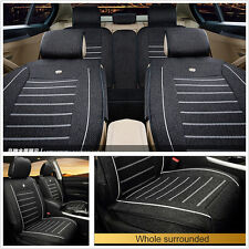 One Set 2017 Newest Black Linen Fabric Autos Front Rear Seat Cover Protector Mat
