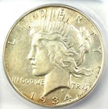 1934-S Peace Silver Dollar $1 - Certified ICG AU53 - Near MS/UNC - Rare Date!