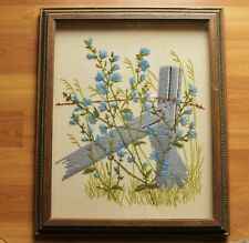 Vintage Framed Country Flowers & Fence Wool Stitchwork