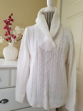 PRIA Womens White 100% Cotton Cowl Neck Cable Knit Sweater Pullover Sz. L