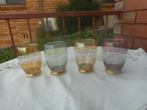 4 VINTAGE IRIDESCENT COLOURED GLASS DRINKING GLASSES LEAF AND GOLD PATTERN