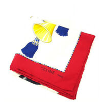 Celine scarf White Red Woman Authentic Used N449