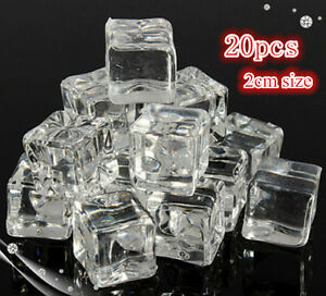 20/50 2CM Fake Artificial Acrylic Ice Cube Crystal Clear Square Cube Decor NEW